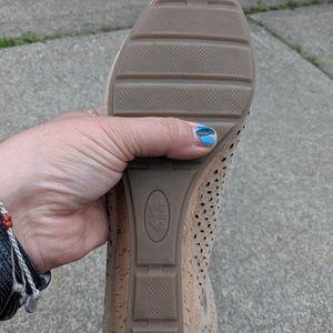 Anne Klein Sport Shoes - Anne Klein Sport Beige Leather Peek Toe Wedges 8.5